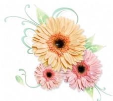 彩色花都元素