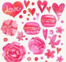 彩绘爱心和花卉矢量图片