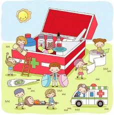 医药箱和卡通人物