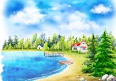 晴空万里夏日风景小屋手绘插画图片
