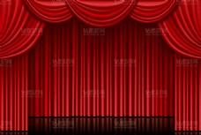 红色帷幕背景舞台矢量素材