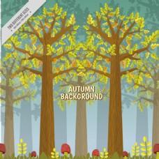 美丽的秋天的背景的高树和蘑菇