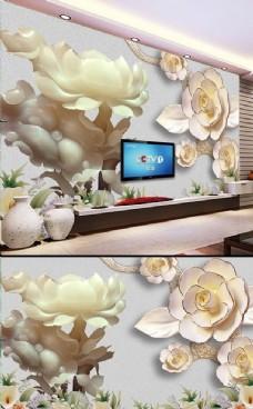玉莲浮雕背景墙