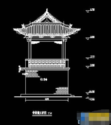 古建筑寺庙钟鼓楼样式cad设计图纸