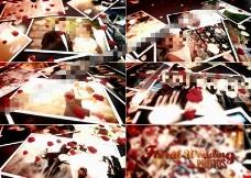 飘落玫瑰花瓣中的浪漫爱情相片集AE模板