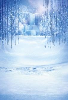 雪地漫画背景图片