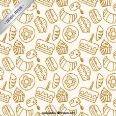手工绘制的烘焙产品模式