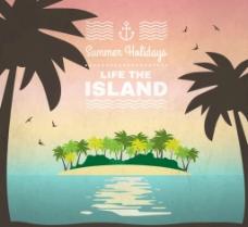 夏日椰林岛屿素材图片
