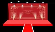婚礼红色背景主舞台