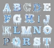 创意冰冻字母设计矢量素材图片