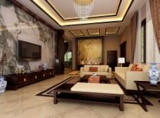 中式客厅 中式背景墙 中式建筑图片