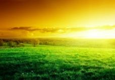 草原黄昏美景图片