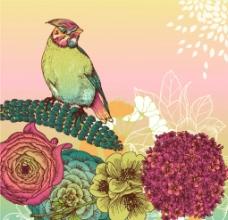 复古风格花鸟设计图片