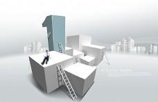 楼梯立方体与商务男士