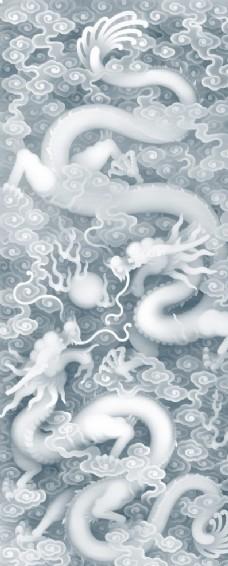 双龙戏珠玄关装饰画(不分层)