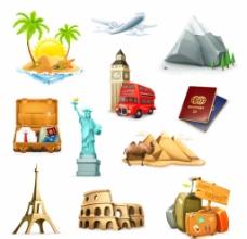 精美旅游图标矢量素材图片