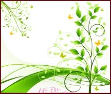 绿色花朵树叶蝴蝶