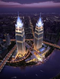 双子建筑夜景
