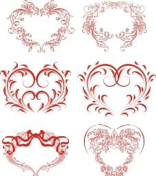 红色 心形花纹图片