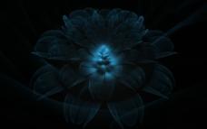 科幻蓝色花朵图片