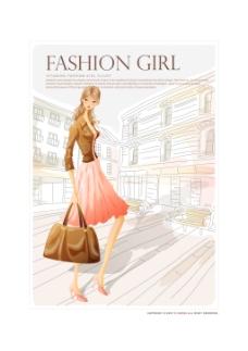 时尚购物女性插画