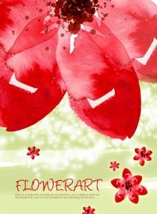 psd源文件渲染红花手绘花朵红色水墨风