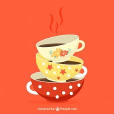 彩色咖啡杯矢量