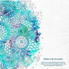 蓝色水墨花纹