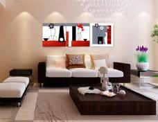 客厅装饰画无框画免费下载