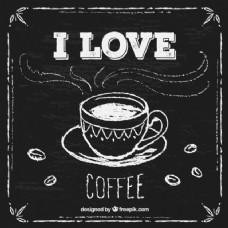 手拉的咖啡杯在黑板上