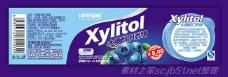 木糖醇口香糖蓝莓味标贴设计psd素材