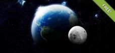 浩瀚的宇宙地球和月球psd素材