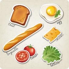 西式早餐剪纸矢量素材