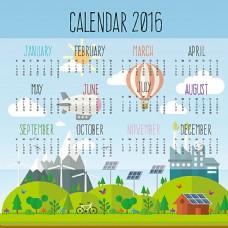 创意2016年环保年历矢量素材图片