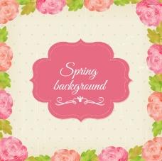 粉色花卉标签背景矢量素材