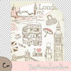 手繪卡通倫敦涂鴉藝術Photoshop填充圖案文件底紋素材pat