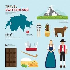时尚瑞士旅游元素图片