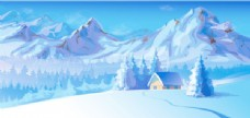 唯美雪景矢量素材