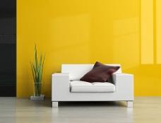 黄色沙发背景墙