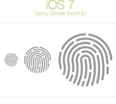iOS7指纹矢量素材图片