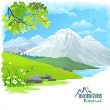 卡通雪山自然风景矢量素材图片