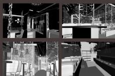 自助烤吧空间设计  模型图片