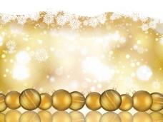 背景虚化的背景与金色的装饰品的圣诞