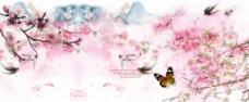 春帘春季海报背景图
