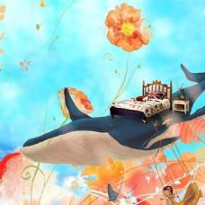 卡通鲸鱼家居家纺床上用品背景
