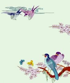 工笔画喜鹊迎春