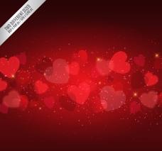 红色爱心光晕背景矢量图