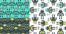 机器人 格子 可爱 循环 图案图片