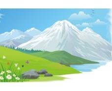 唯美清新矢量雪山图片