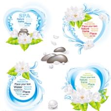 自然spa荷花标签矢量素材图片